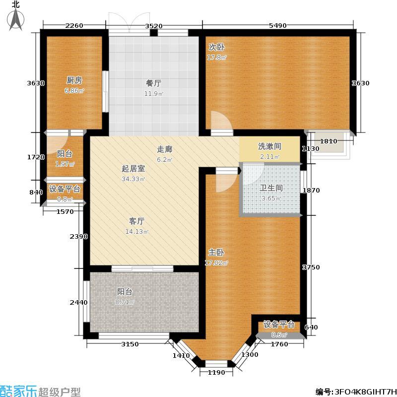 世纪明珠B2户型 二室二厅一卫户型