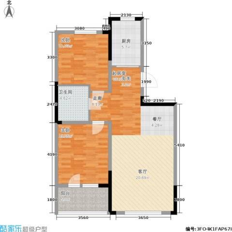 澳海澜郡2室0厅1卫1厨87.00㎡户型图