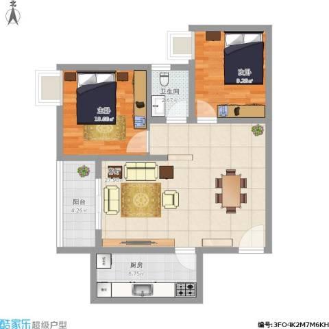 闸弄口新村2室1厅1卫1厨89.00㎡户型图