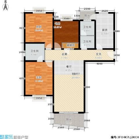 宝虹新苑3室1厅3卫1厨130.00㎡户型图