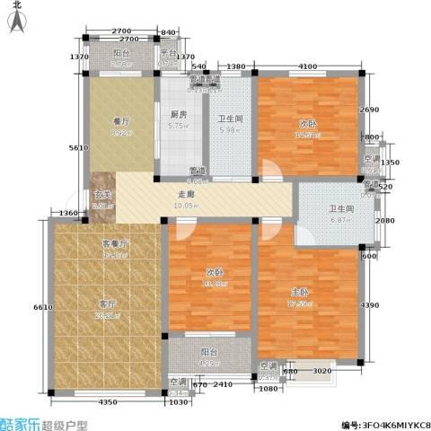 中建绿洲国际花园3室1厅2卫1厨139.00㎡户型图