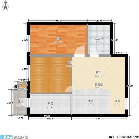 民乐观澜时代2室0厅1卫1厨80.00㎡户型图