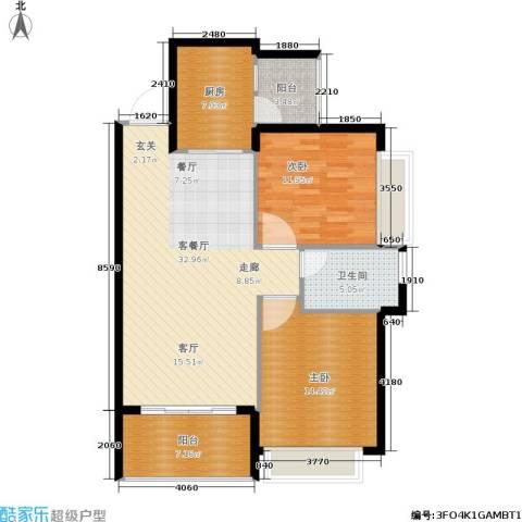 恒大名都2室1厅1卫1厨91.00㎡户型图