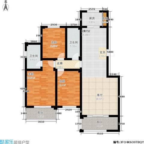 万达高尔夫花园3室0厅2卫1厨146.00㎡户型图