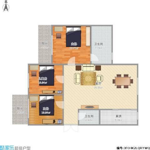 锦绣豪庭3室1厅2卫1厨115.00㎡户型图