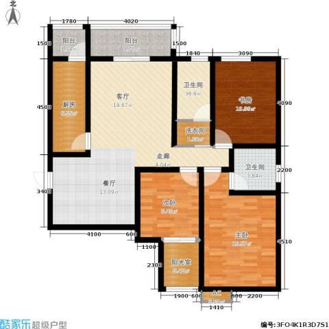 星湖国际花园3室0厅2卫1厨138.00㎡户型图