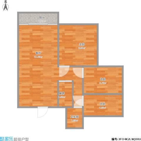 龙军花园3室1厅1卫1厨64.00㎡户型图
