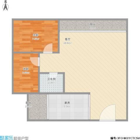 文华花园2室1厅1卫1厨76.00㎡户型图