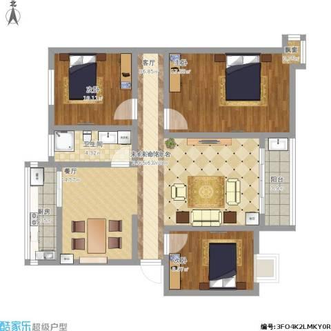 秀园丽水明珠3室1厅1卫1厨99.81㎡户型图