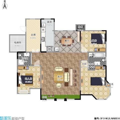 国信御湖公馆3室1厅2卫1厨157.00㎡户型图