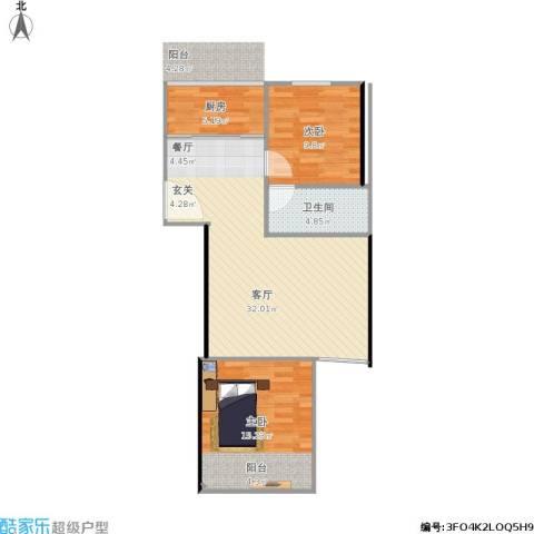 翠屏北里西区2室1厅1卫1厨88.00㎡户型图