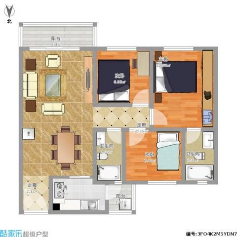 卡卡幸福里3室1厅2卫1厨92.00㎡户型图