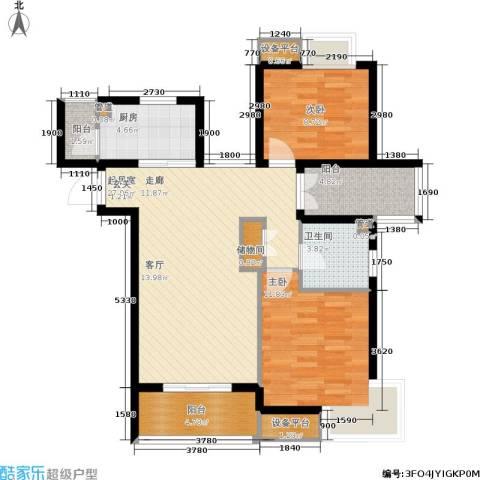天房翠海红山2室0厅1卫1厨96.00㎡户型图