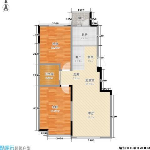 西湖一号2室0厅1卫1厨91.00㎡户型图