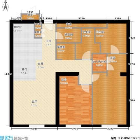 新地国际公寓2室1厅2卫0厨143.00㎡户型图