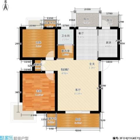 天房翠海红山2室1厅1卫1厨99.00㎡户型图
