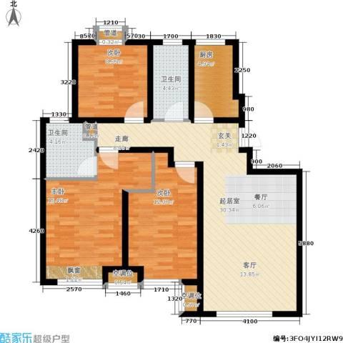 远洋红熙郡3室0厅2卫1厨95.07㎡户型图