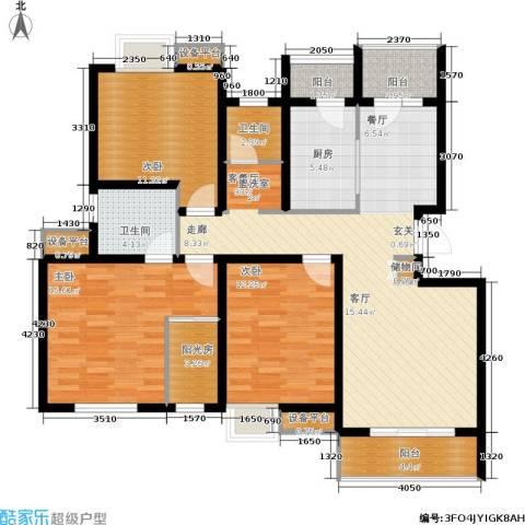 天房翠海红山3室1厅2卫1厨134.00㎡户型图