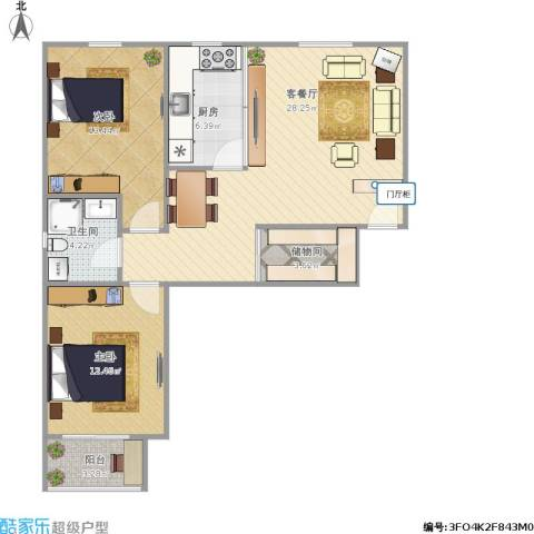 永康水印城2室1厅1卫1厨122.00㎡户型图