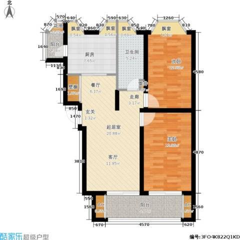 君地・上郡二期2室0厅1卫1厨80.00㎡户型图