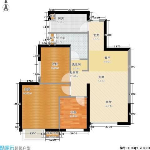 荔城公馆3室0厅1卫1厨104.00㎡户型图