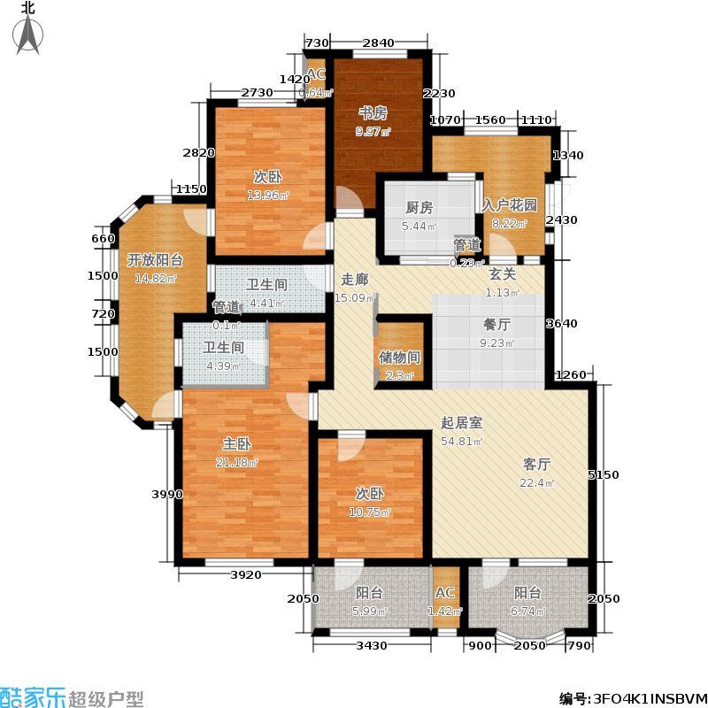 国赫澜山152.86㎡3层D户型4室2厅