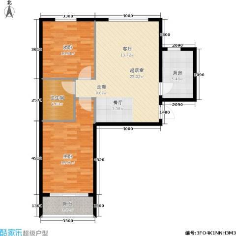 领秀城2室0厅1卫1厨93.00㎡户型图