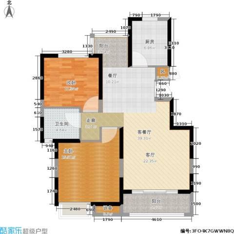 维多莉雅花苑2室1厅1卫1厨122.00㎡户型图