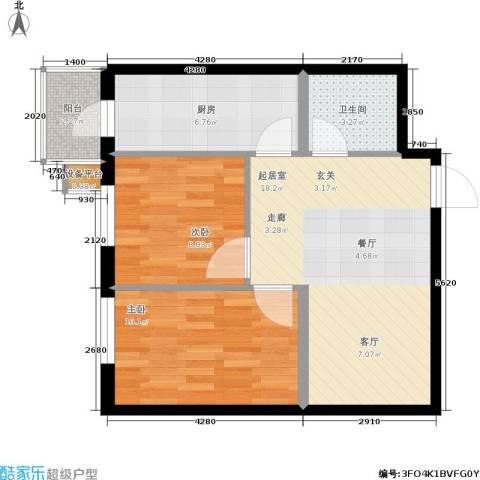 民乐观澜时代2室0厅1卫1厨70.00㎡户型图