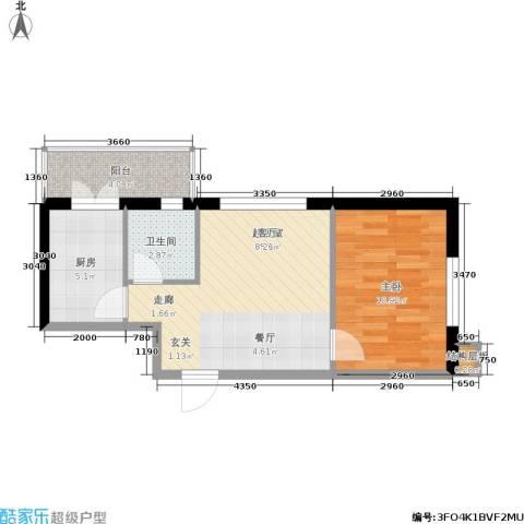民乐观澜时代1室0厅1卫1厨56.00㎡户型图