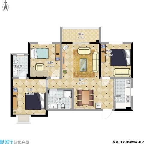 昆明时光3室1厅2卫1厨115.00㎡户型图