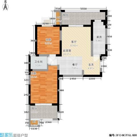 金业观湖大第2室0厅1卫1厨102.00㎡户型图