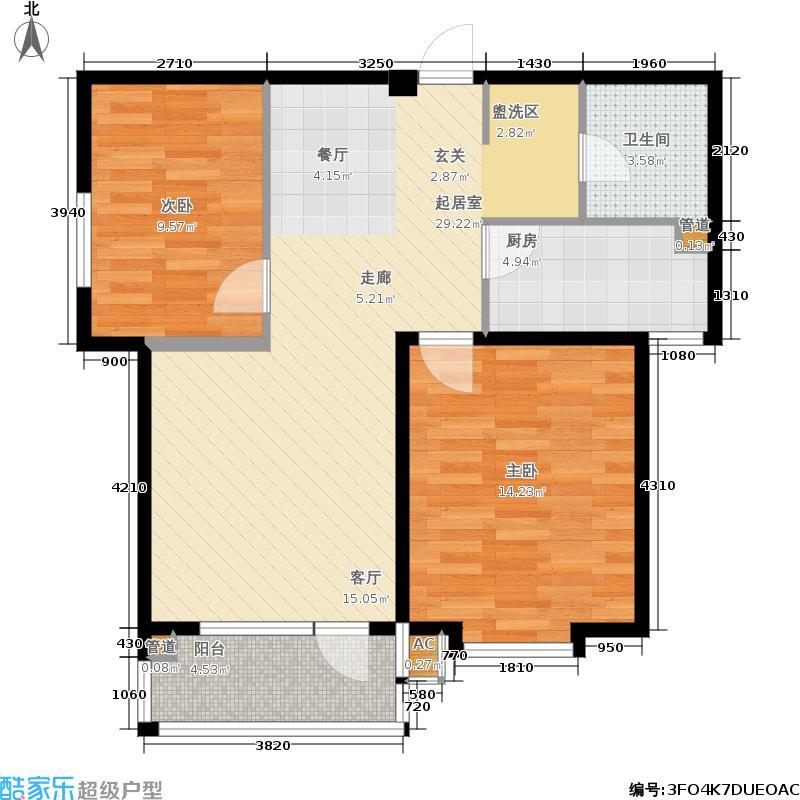 天鸿领仕馆99.24㎡名爵G户型 99.24平方米户型2室2厅1卫