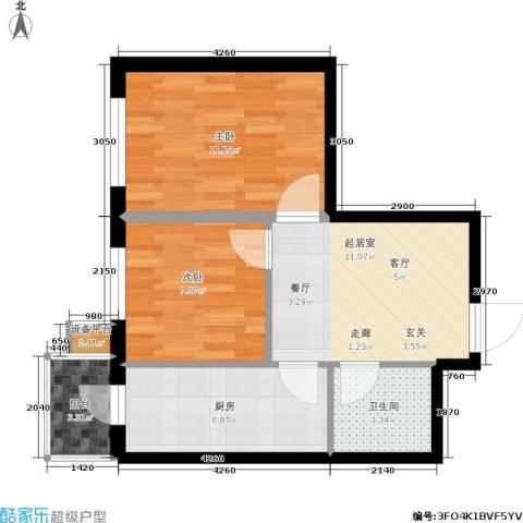 民乐观澜时代2室0厅1卫1厨62.00㎡户型图