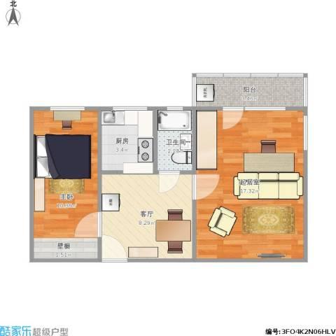 安化北里1室1厅1卫1厨61.00㎡户型图