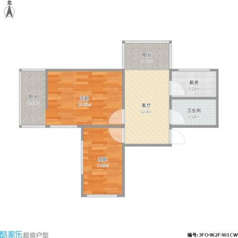 江苏路2室1厅1卫1厨57.00㎡户型图