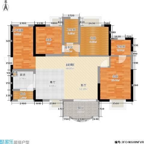 华轩桃花源3室0厅2卫1厨121.00㎡户型图