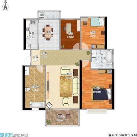 太湖富力都3室1厅2卫1厨139.00㎡户型图