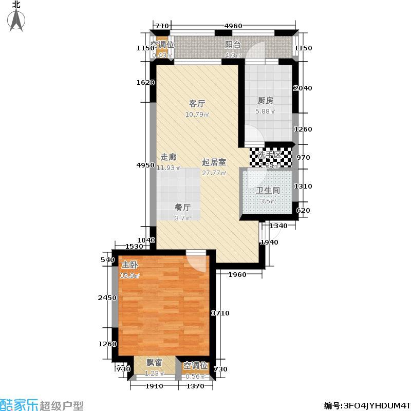 U公馆75.00㎡洋房标准层E1户型