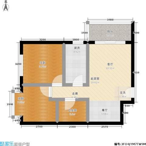馨雅园2室0厅1卫1厨77.00㎡户型图