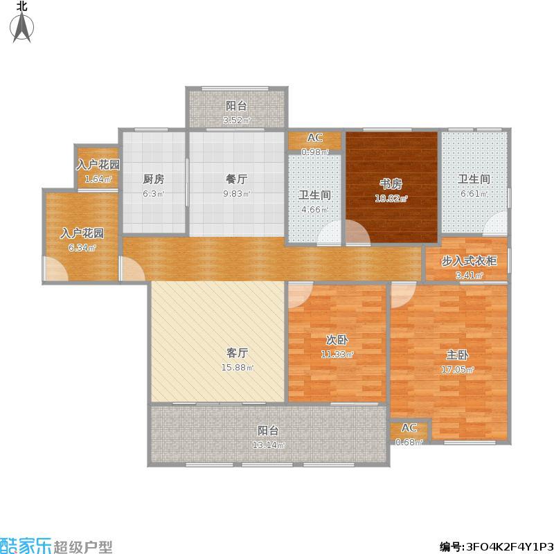 生态新城绿茵里H1-3户型三室两厅两卫