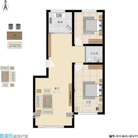 桃园新村2室1厅1卫1厨115.00㎡户型图