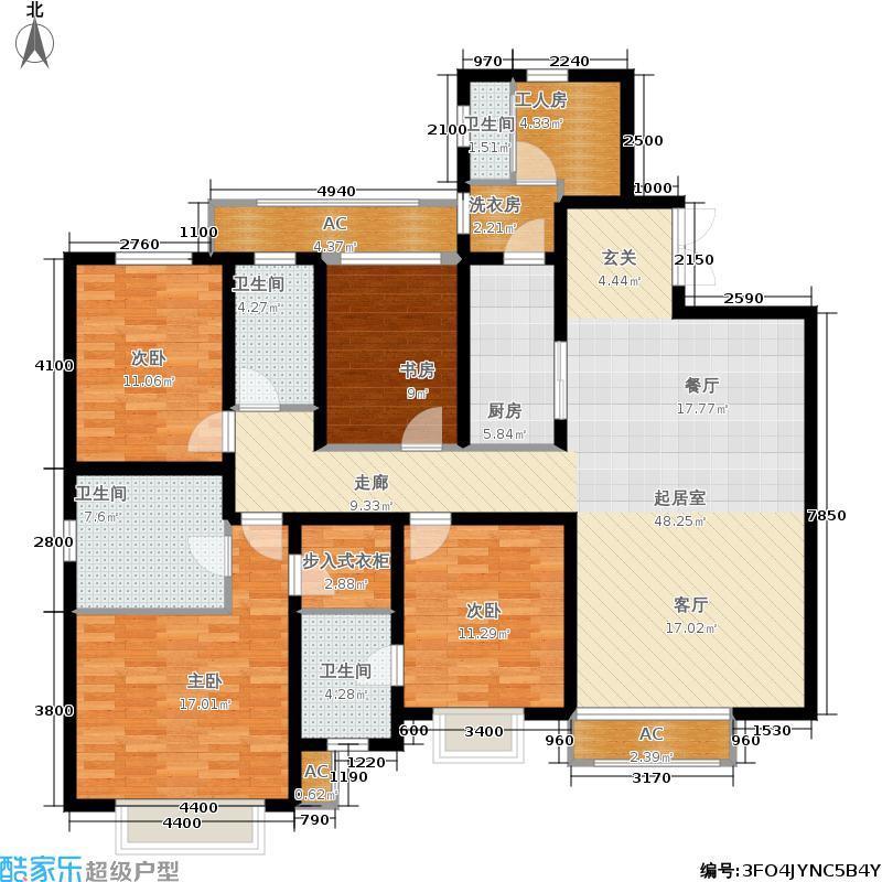 天津津南新城187.00㎡二期H区17号楼标准层01户型