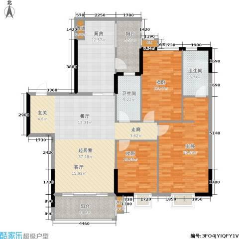 万科天河御品3室0厅2卫1厨132.00㎡户型图