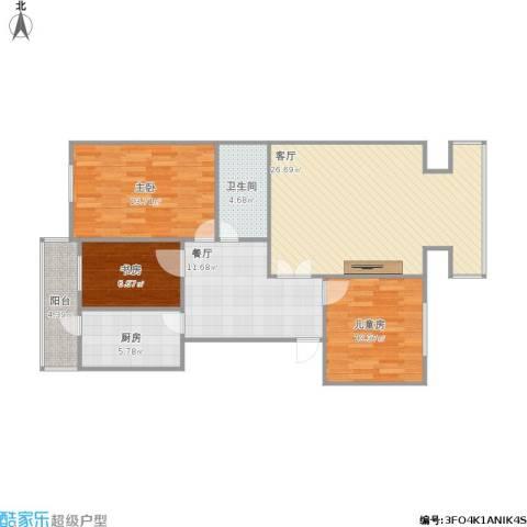 龙军小区3室2厅1卫1厨113.00㎡户型图