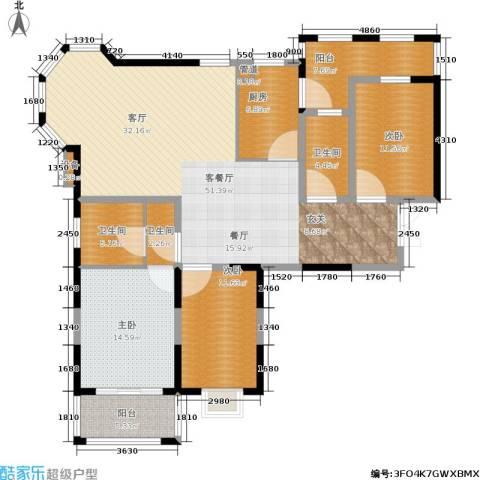 维多莉雅花苑3室1厅3卫1厨172.00㎡户型图