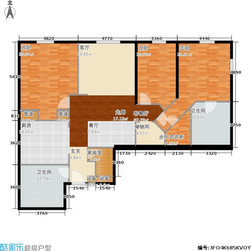 新地国际公寓181.00㎡P户型3室2厅2卫