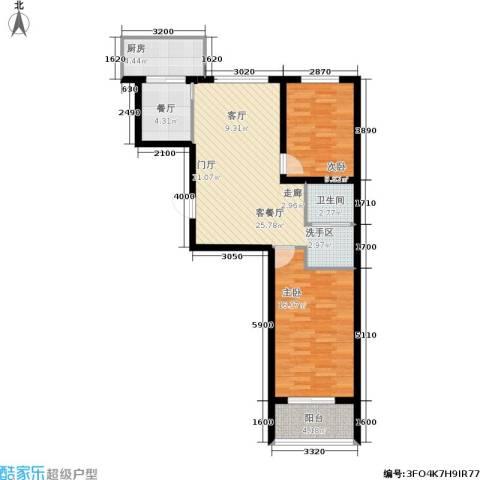 学子园2室2厅1卫1厨96.00㎡户型图