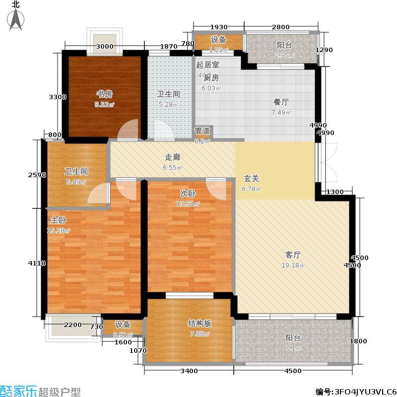 米兰风景125.00㎡三期花园洋房E2、3层户型