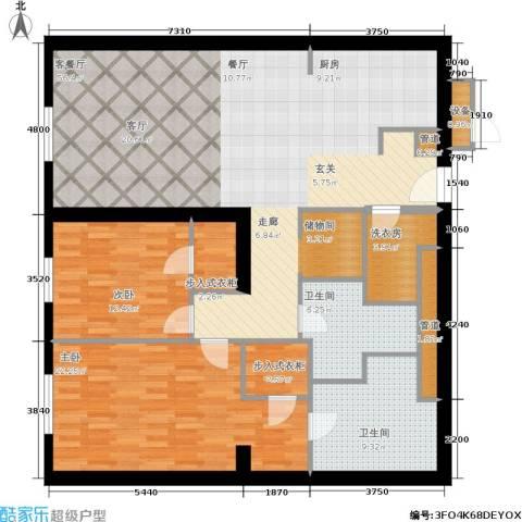 新地国际公寓2室1厅2卫0厨134.00㎡户型图